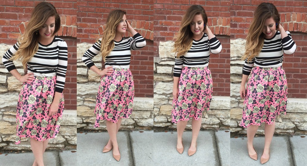 Outfit details: Loft stripe shirt (old) similar    here    and    here   ,    Forever 21 skirt   , J.Crew flats (old) similar    here    and    here   , J.Crew earrings (old) similar    here    and    here