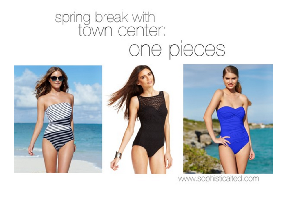 Macy's stripe one piece, Macy's black one piece, Macy's blue one piece