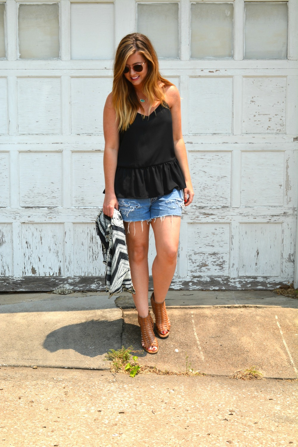 Black tank with vintage shorts on Sophisticaited.com