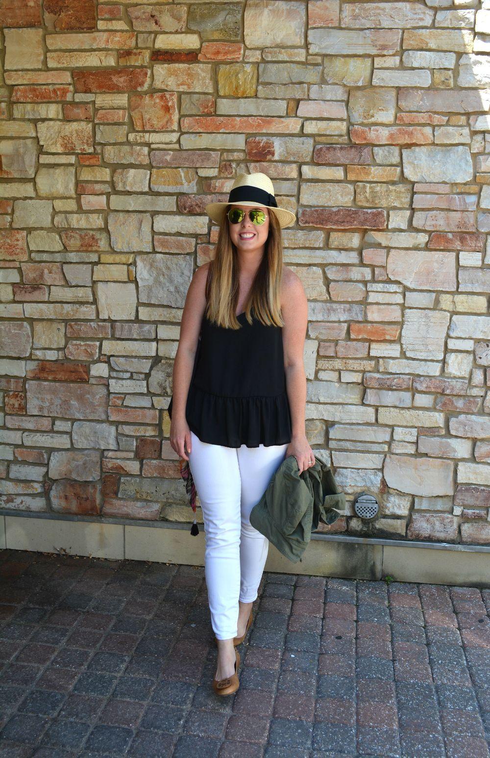 Black tank white jeans on Sophisticaited
