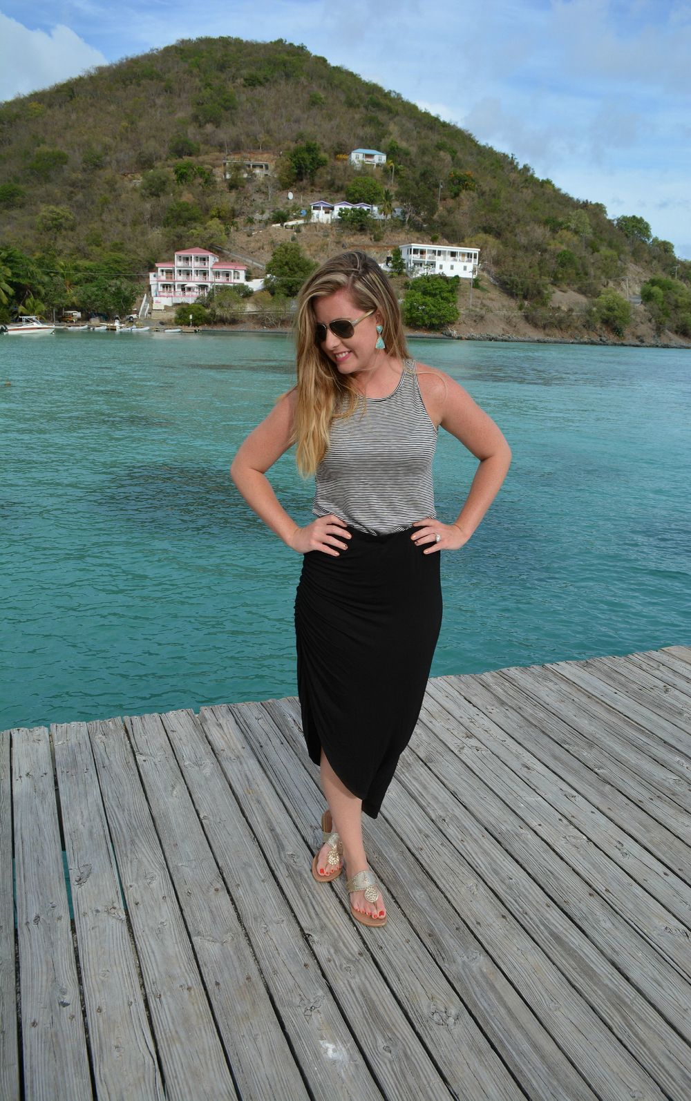 Gray tank with black skirt on Sophisticaited.com