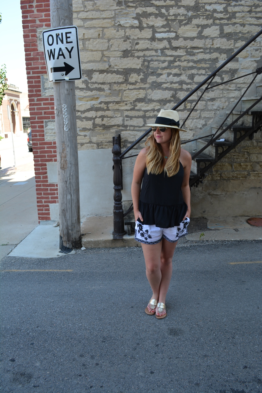 Panama hat, black tank, with embroidered short on Sophisticaited.com