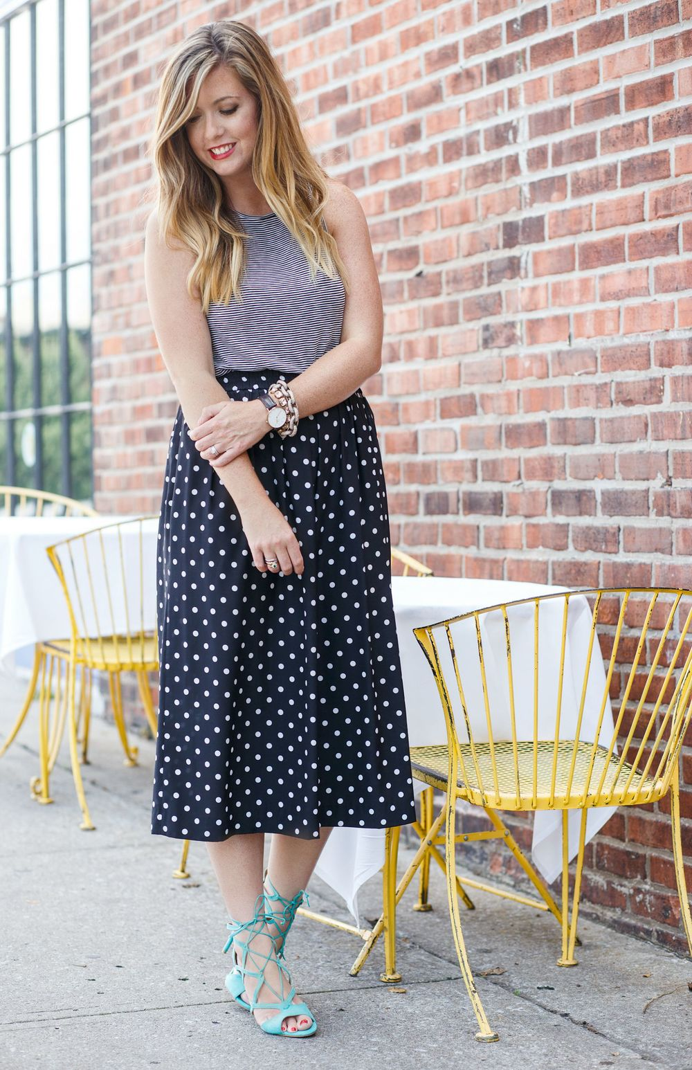 Stripe tank with polka dot with mint strappy sandals on Sophisticaited