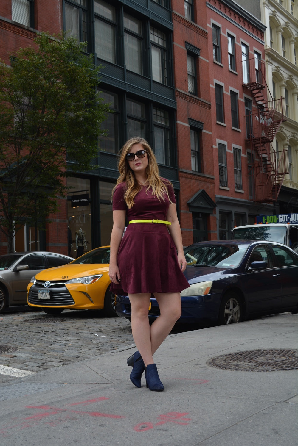 Merlot suede dress on Sophisticaited.com #NYFW