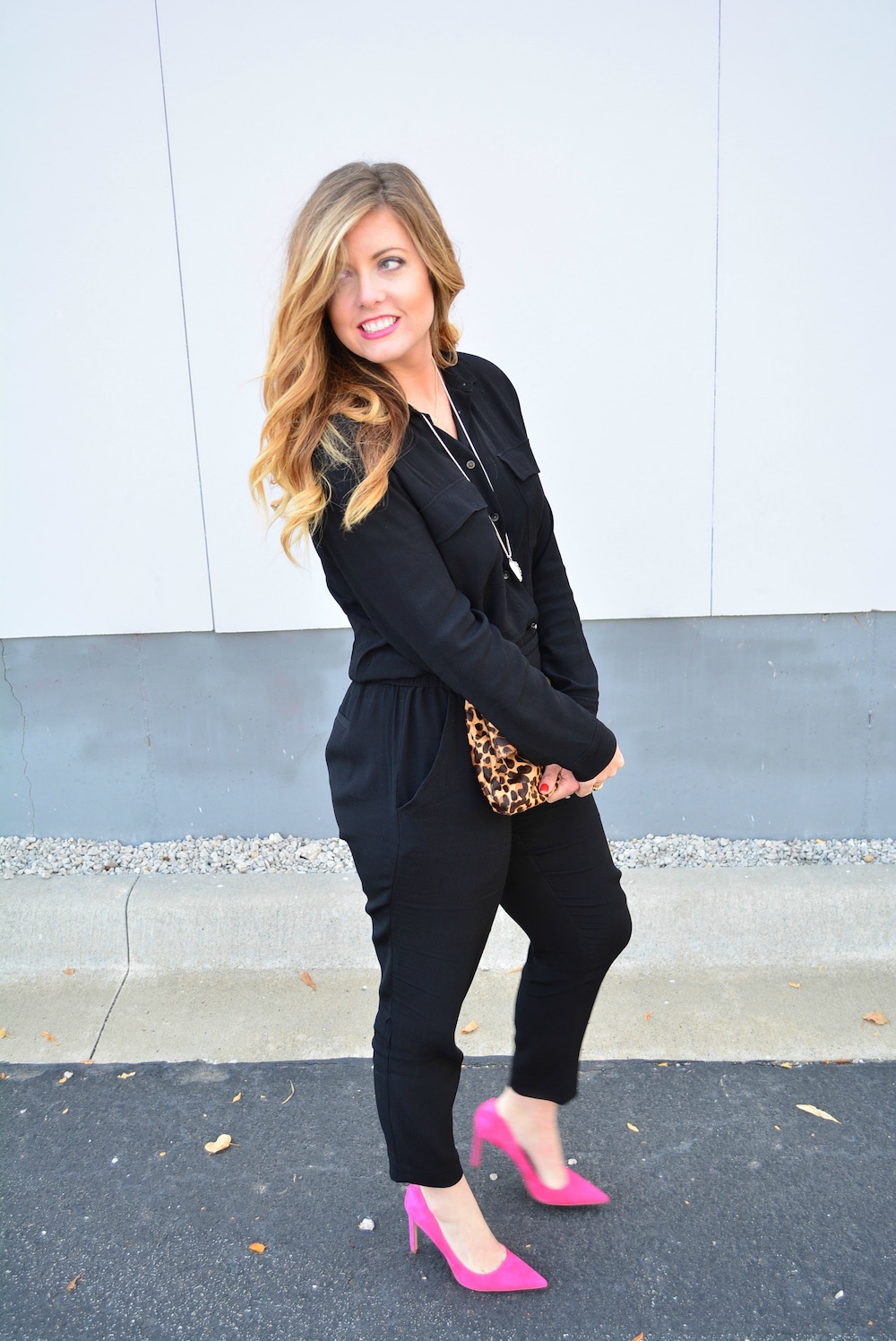 Black Madewell jumpsuit leopard clutch and pink suede pumps on Sophisticaited
