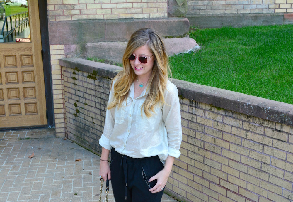 Gold shirt styled with joggers and leopard flats on Sophisticaited.com