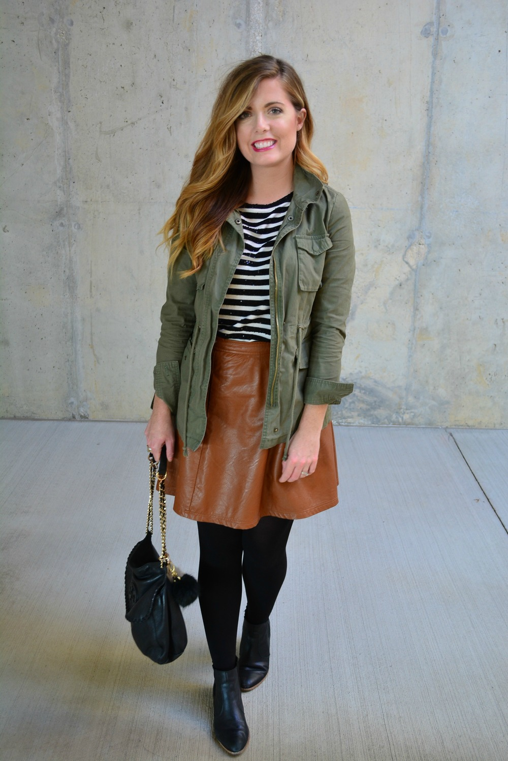 Cargo jacket with stripe tee and brown leather skirt for fall on Sophisticaited.com