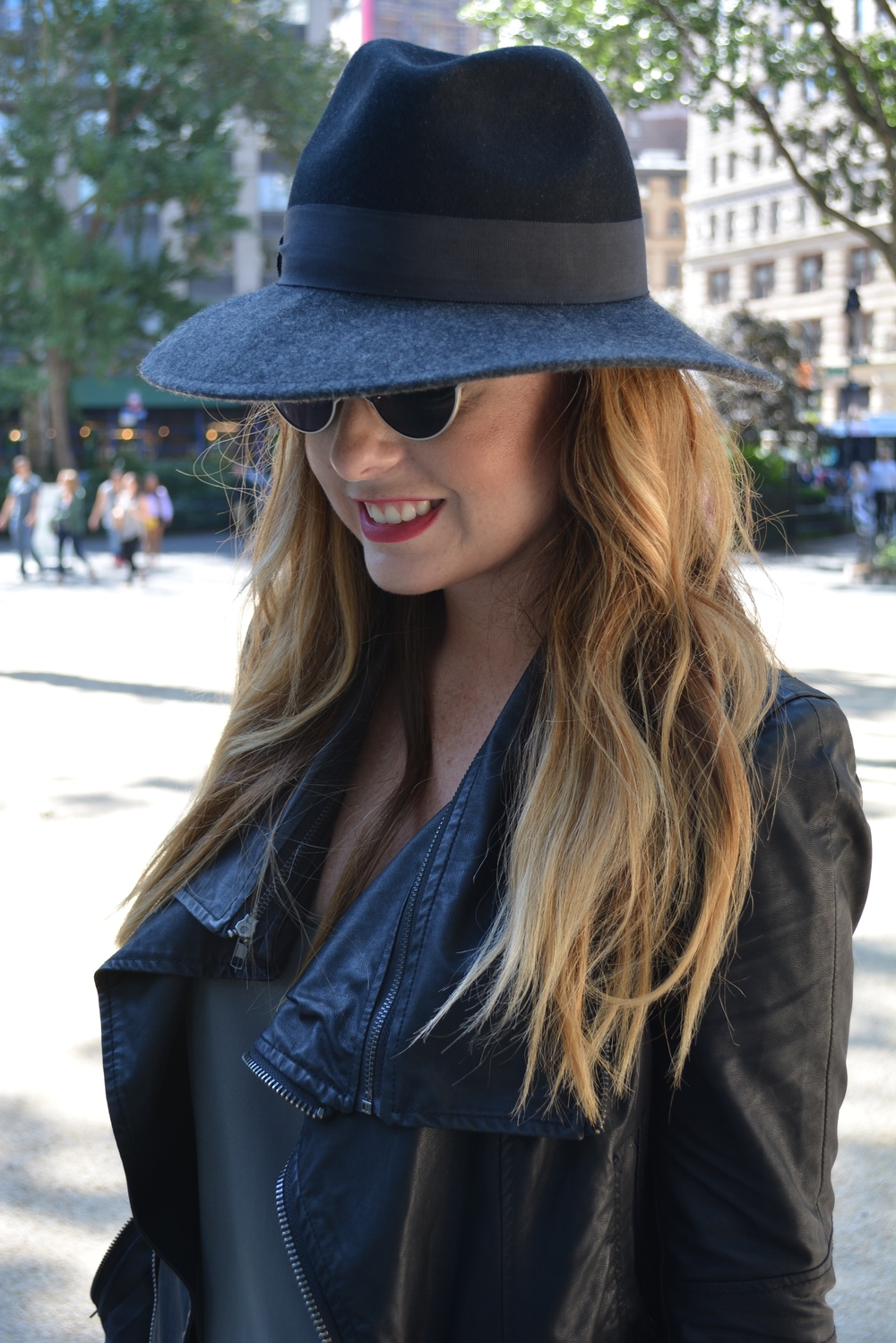 Wide brim hat and moto jacket