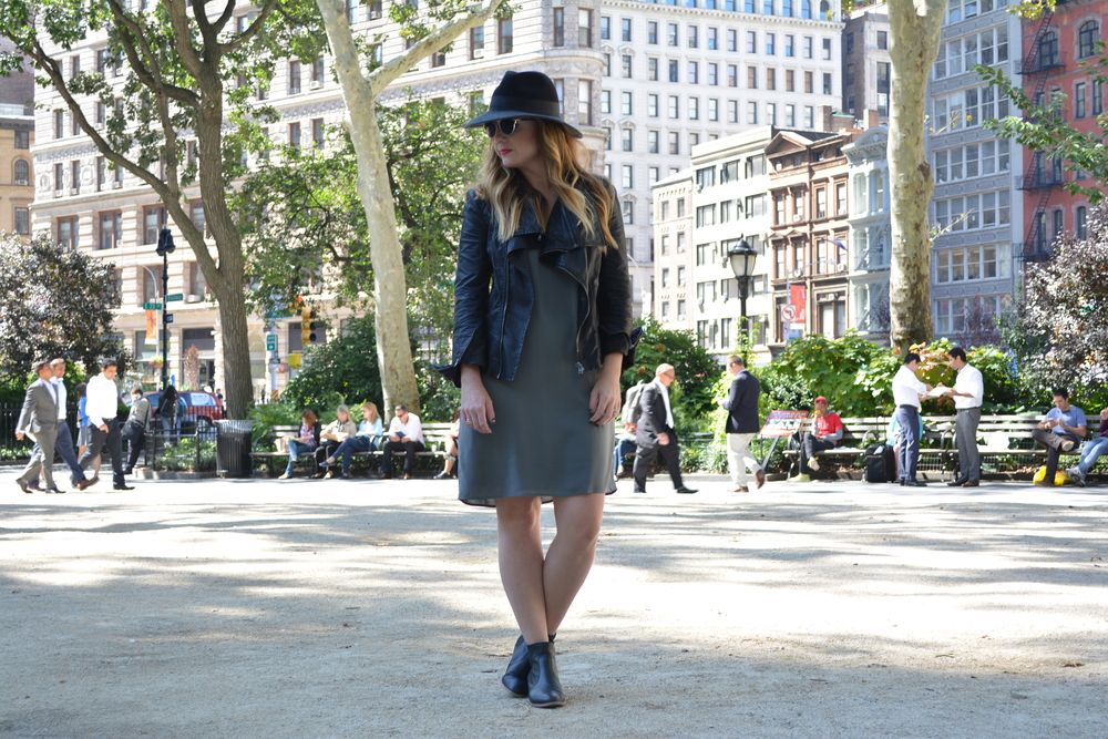 Wide brim hat, moto jacket, and shift dress
