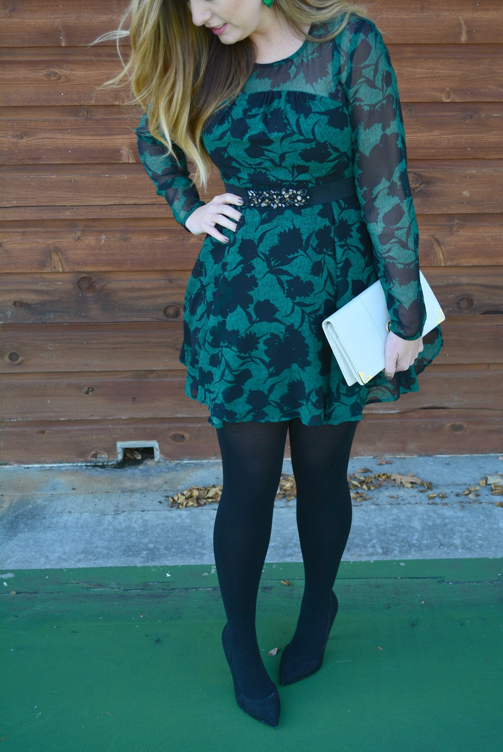 Floral dress with black tights for Holiday