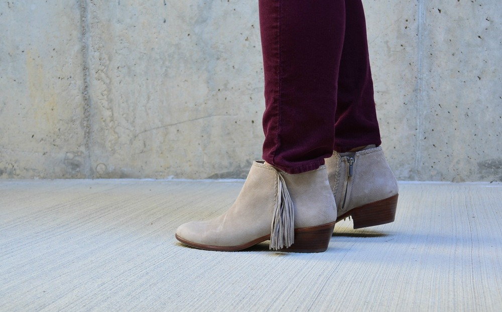 Sam Edelman suede fringe booties outfit