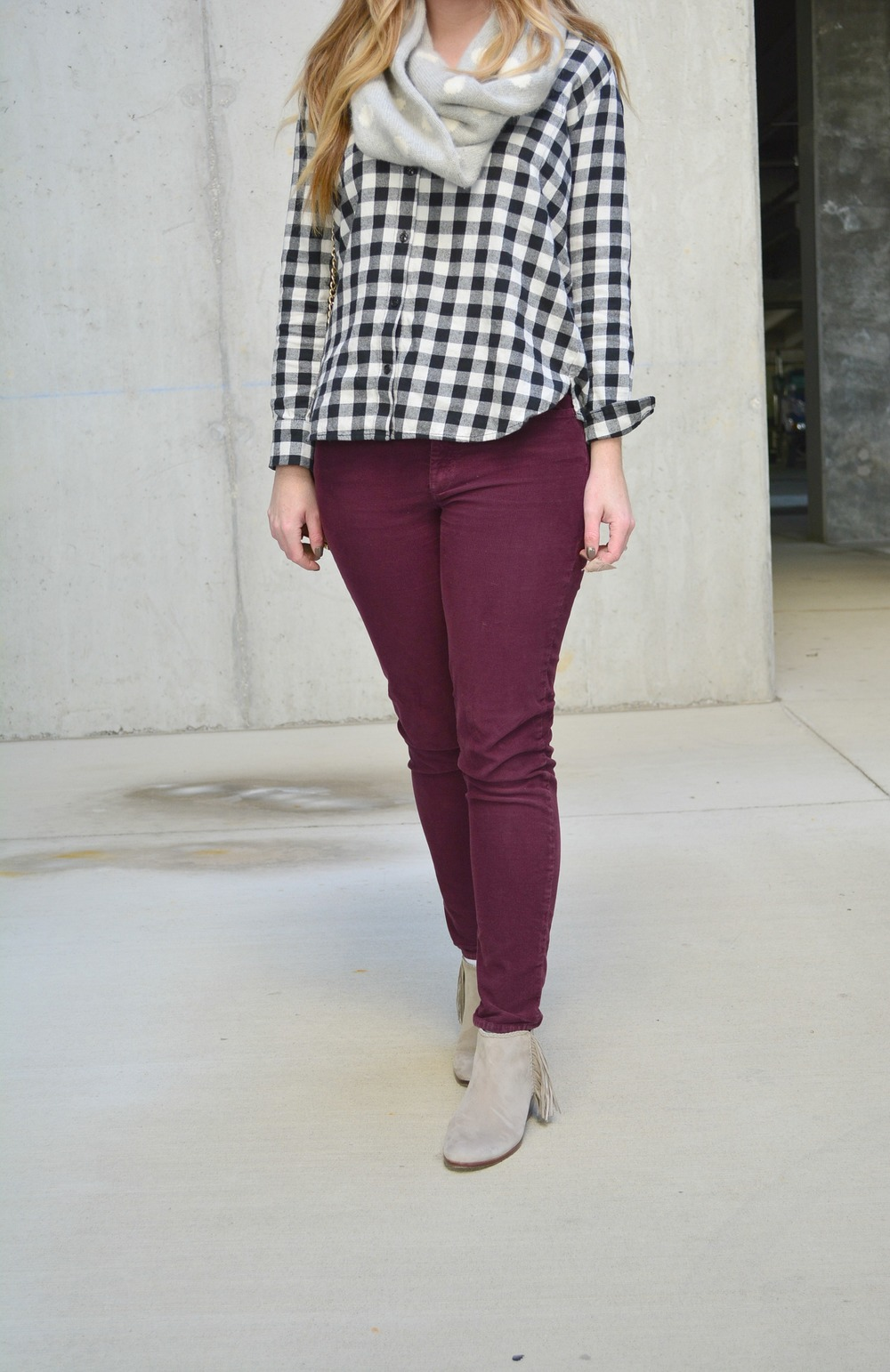 Madewell plaid with merlot cords outfit