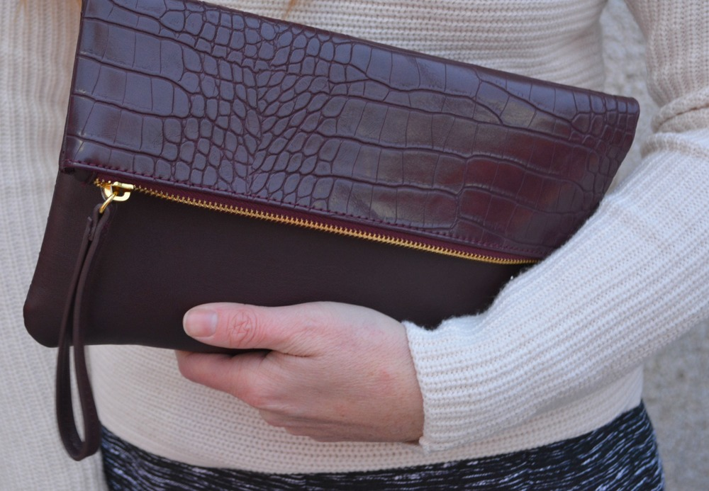 Old Navy maroon snakeskin clutch