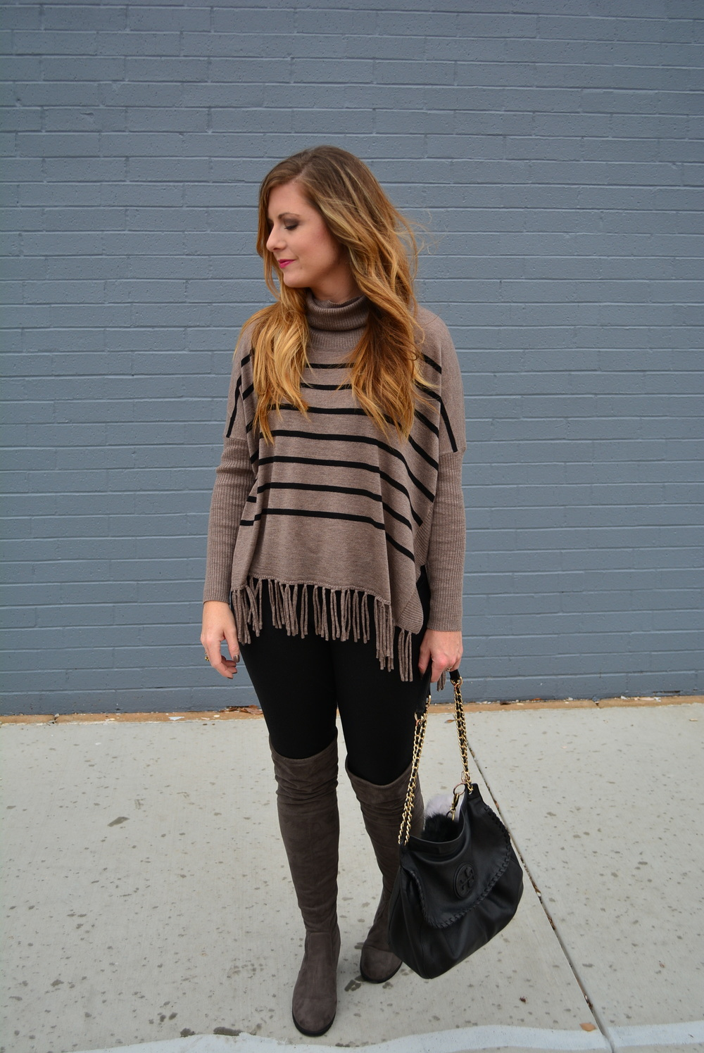 Scoobie stripe turtleneck with grey OTK boots