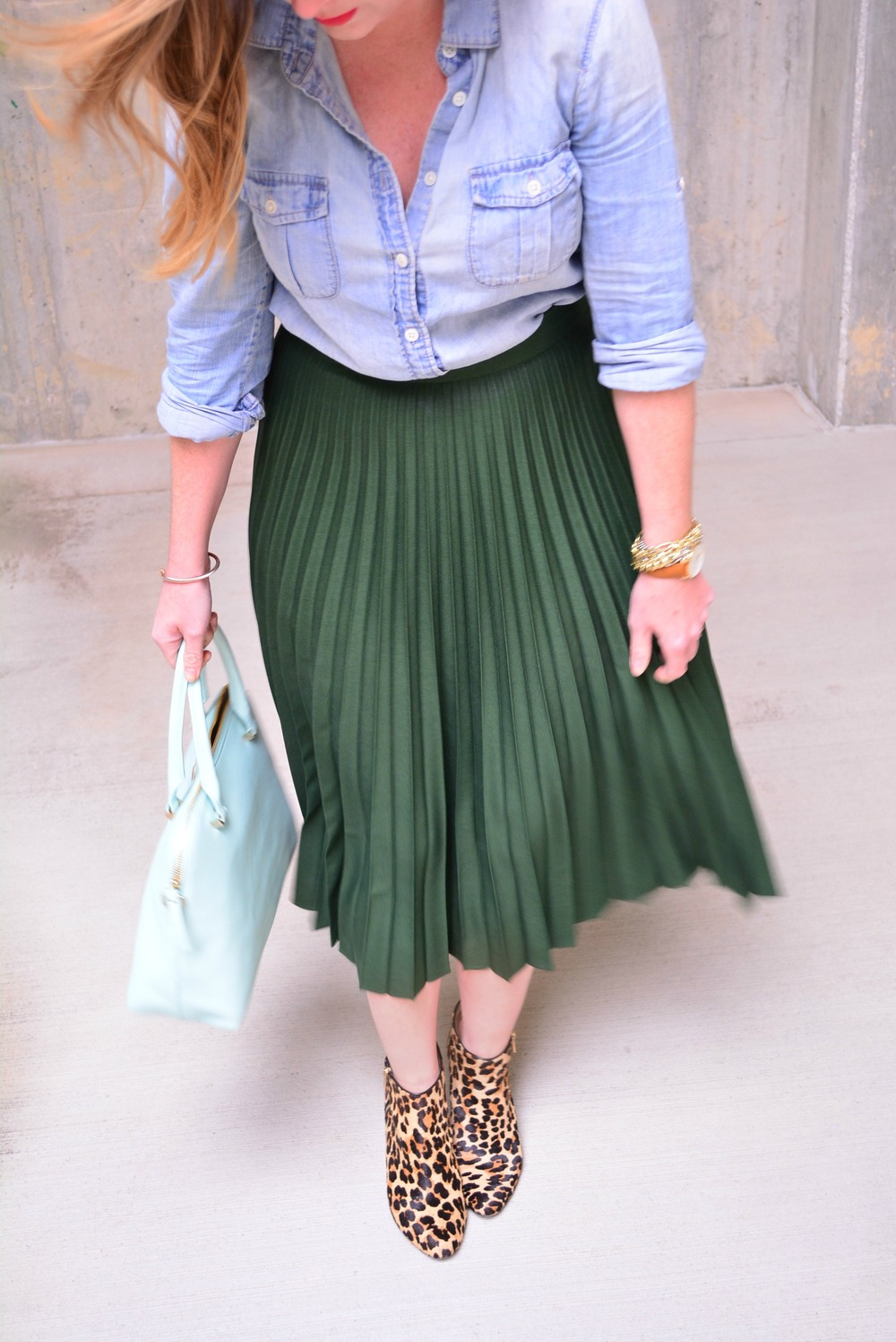 Chambray shirt with green maxi skirt