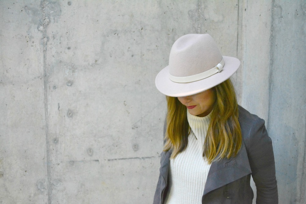Soft pink hat with gray suede jacket for winter