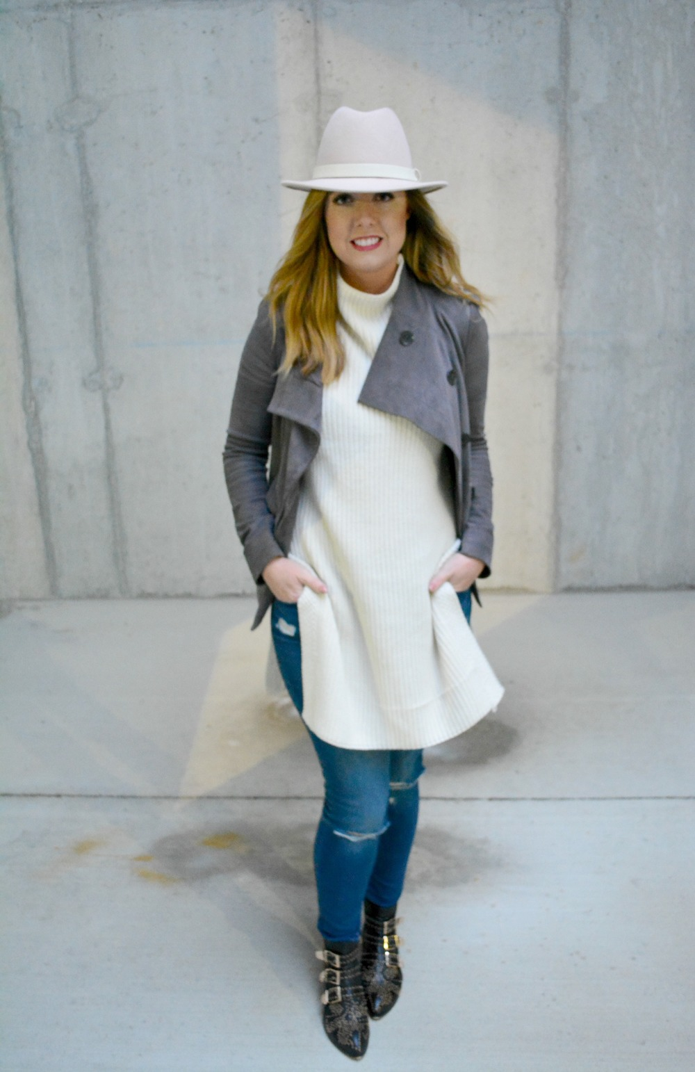 Soft colors for a fun winter outfit