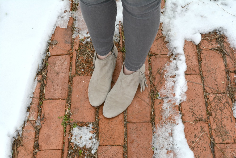Gray fringe booties
