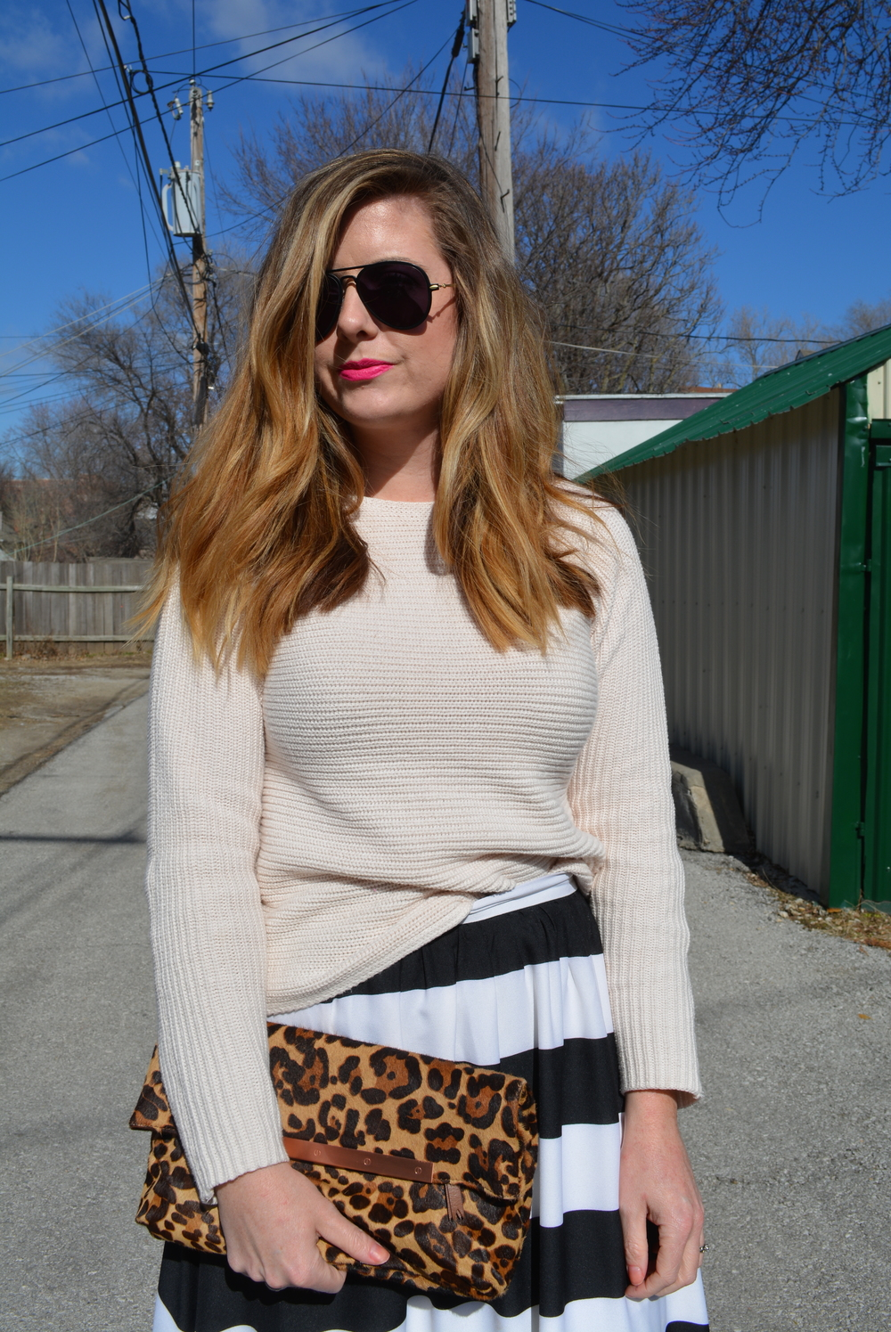 Blush sweater with black and white stripe maxi skirt for Valentine's Day