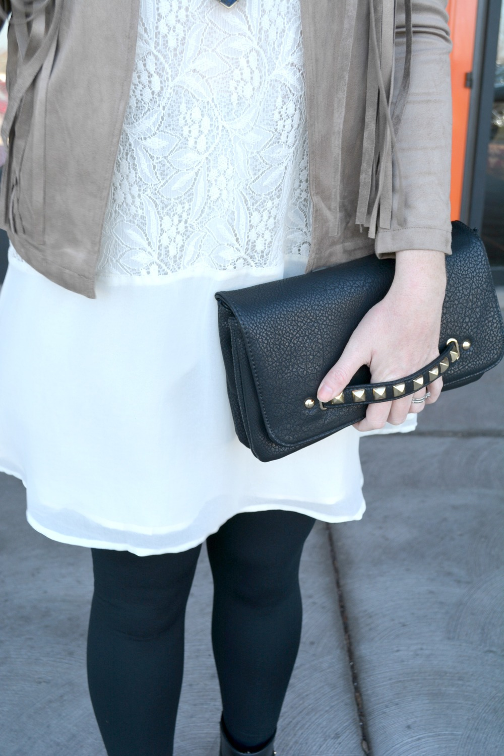 White lace dress and suede fringe jacket spring look