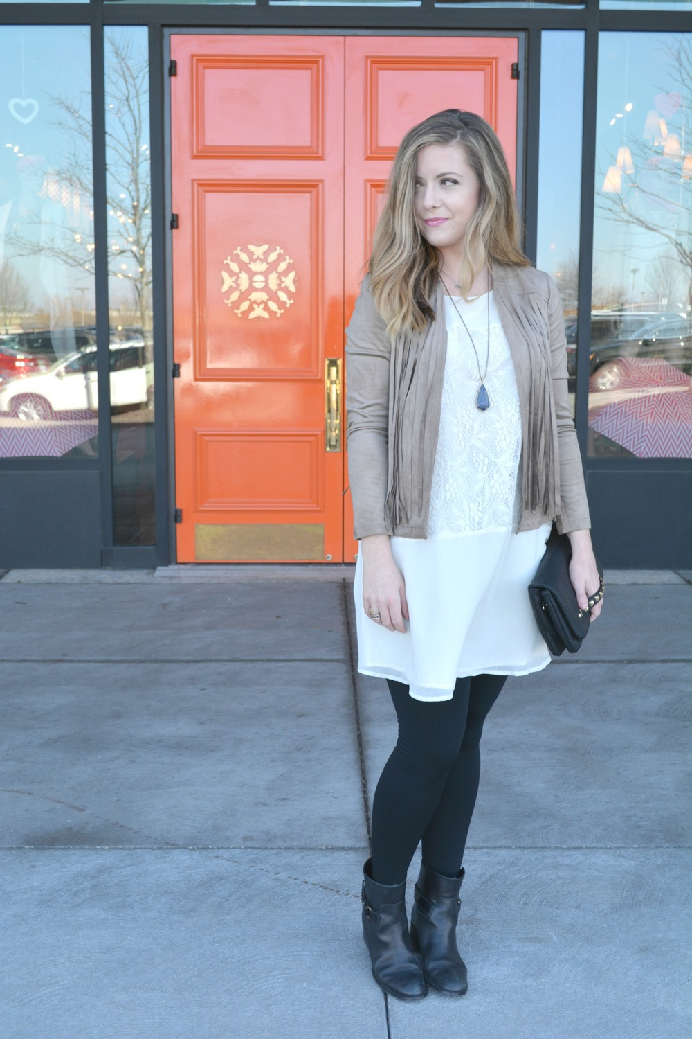 Cupcakes and Cashmere fringe suede jacket and Candytuft dress