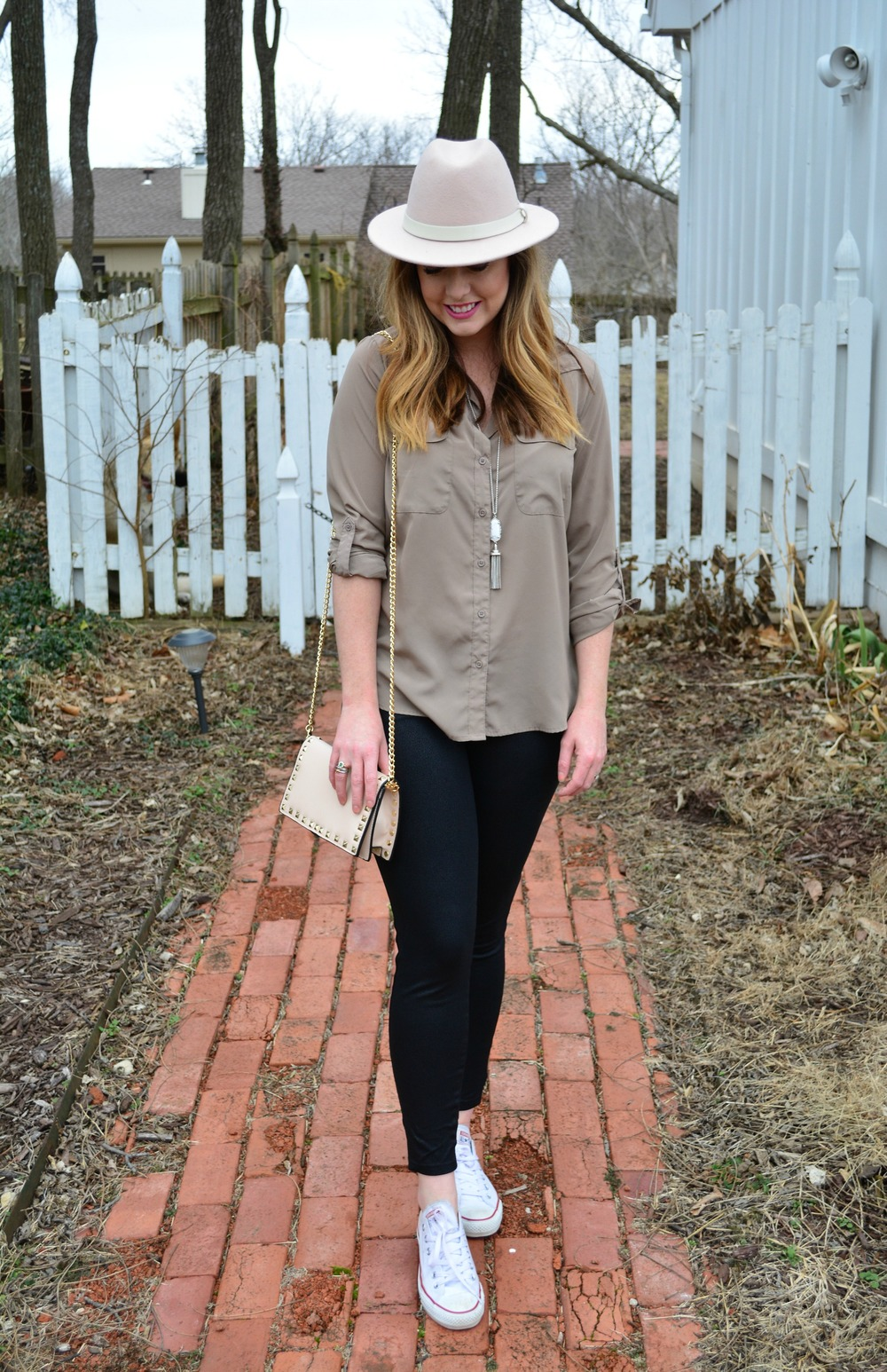 Neutral outfit with blush accessories for spring