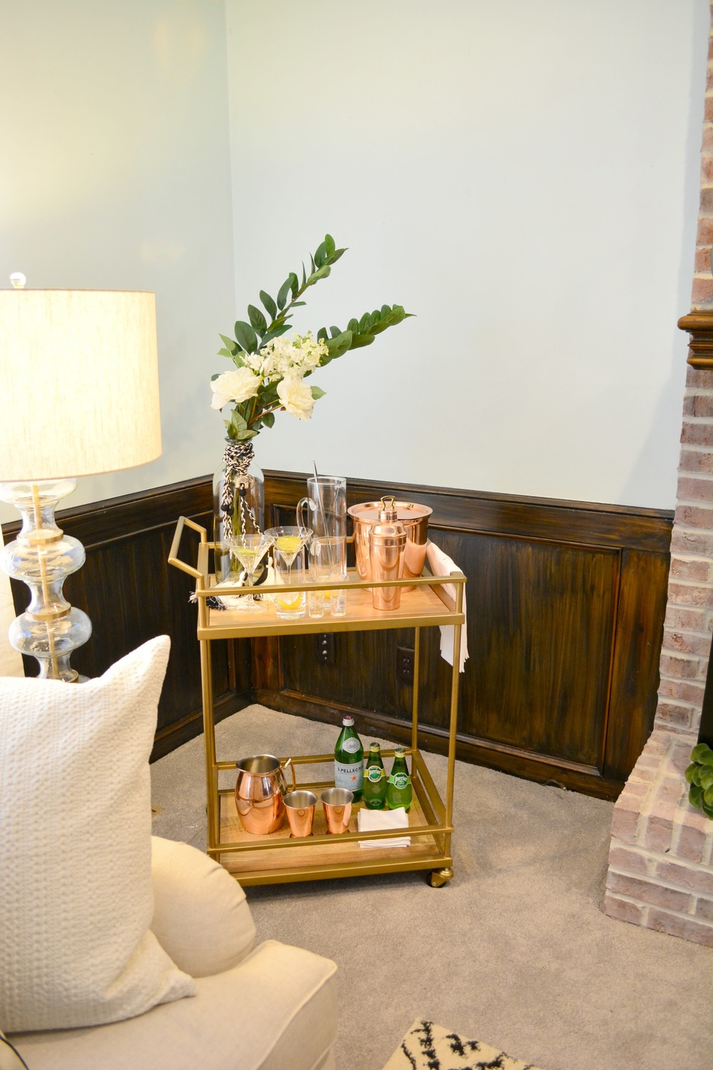 Bar cart styling with Pottery Barn