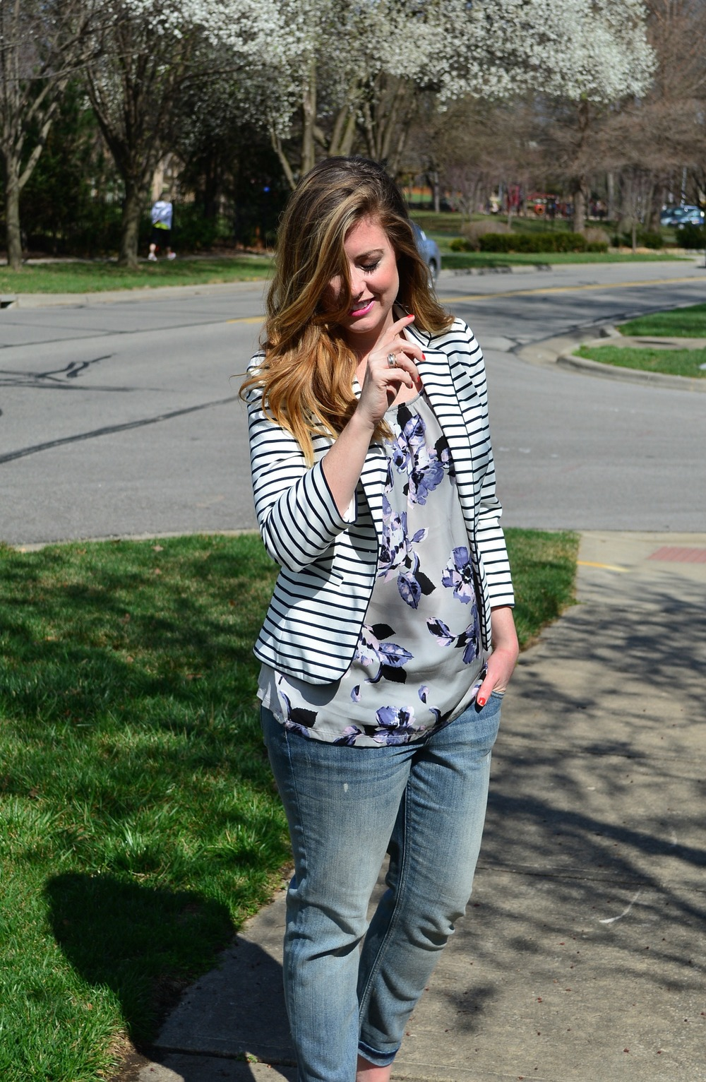 Stripe blazer and floral top combo