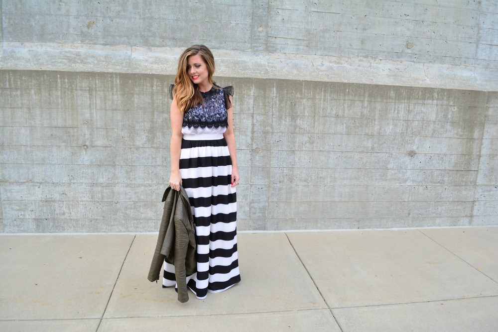 Black and white stripe maxi skirt look