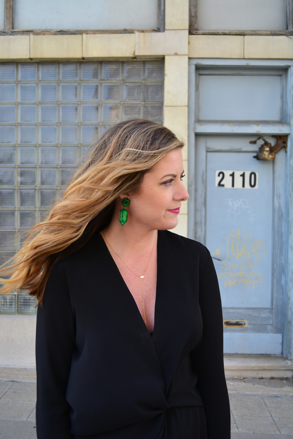 Green statement earrings with lariat necklace