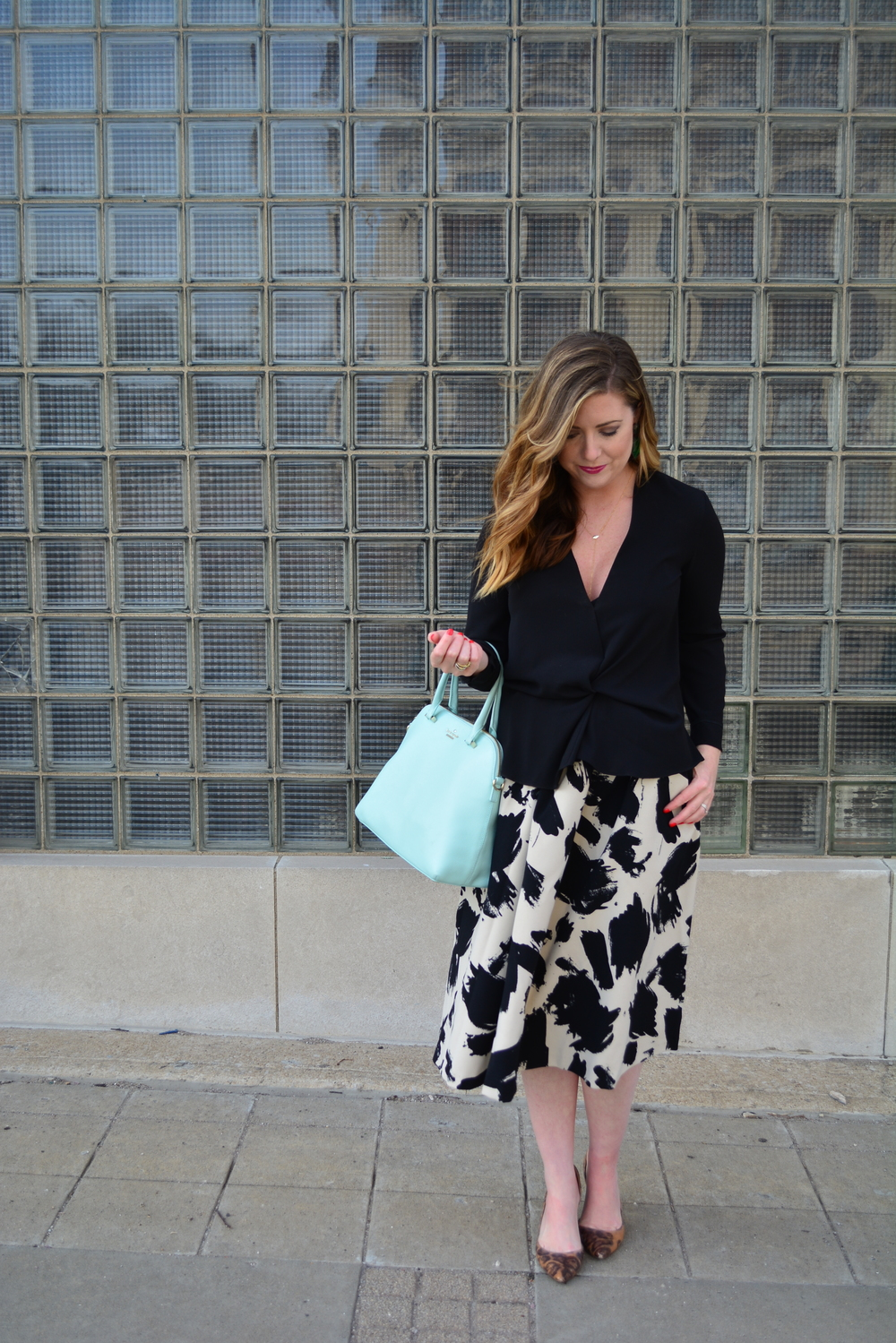 Printed midi skirt plus knotted Top Shop