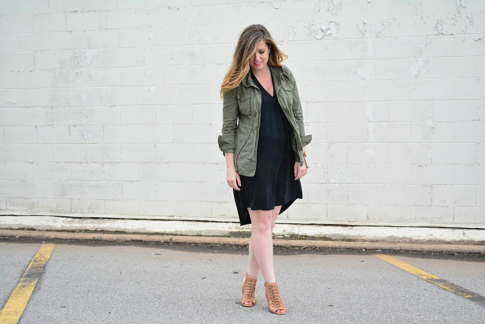 Maternity black dress and green cargo jacket