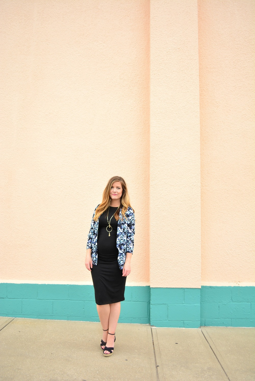 Black fitted dress + Floral jacket + Black Espadriles maternity outfit