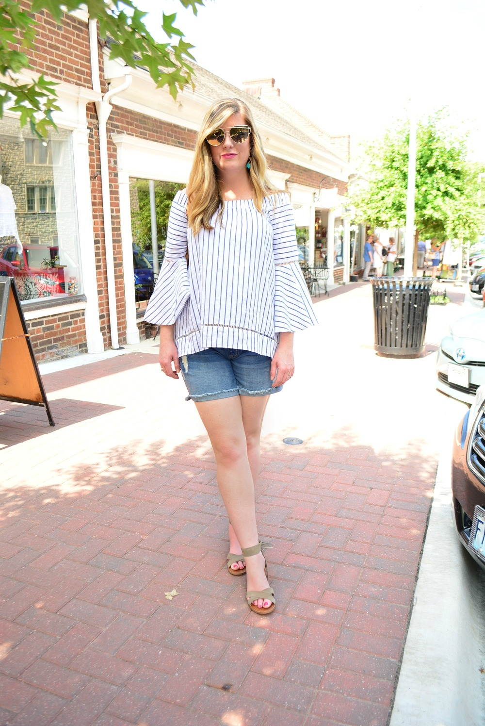Off the shoulder stripe blouse with boyfriend shorts for summer