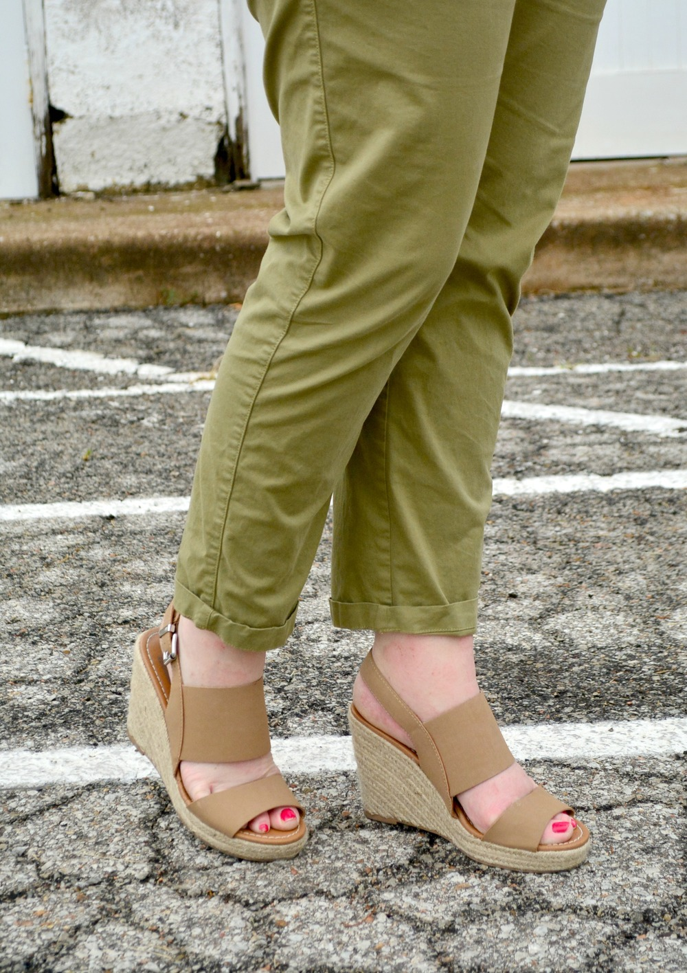 Dolce Vita for Target wedges and army green pants for summer
