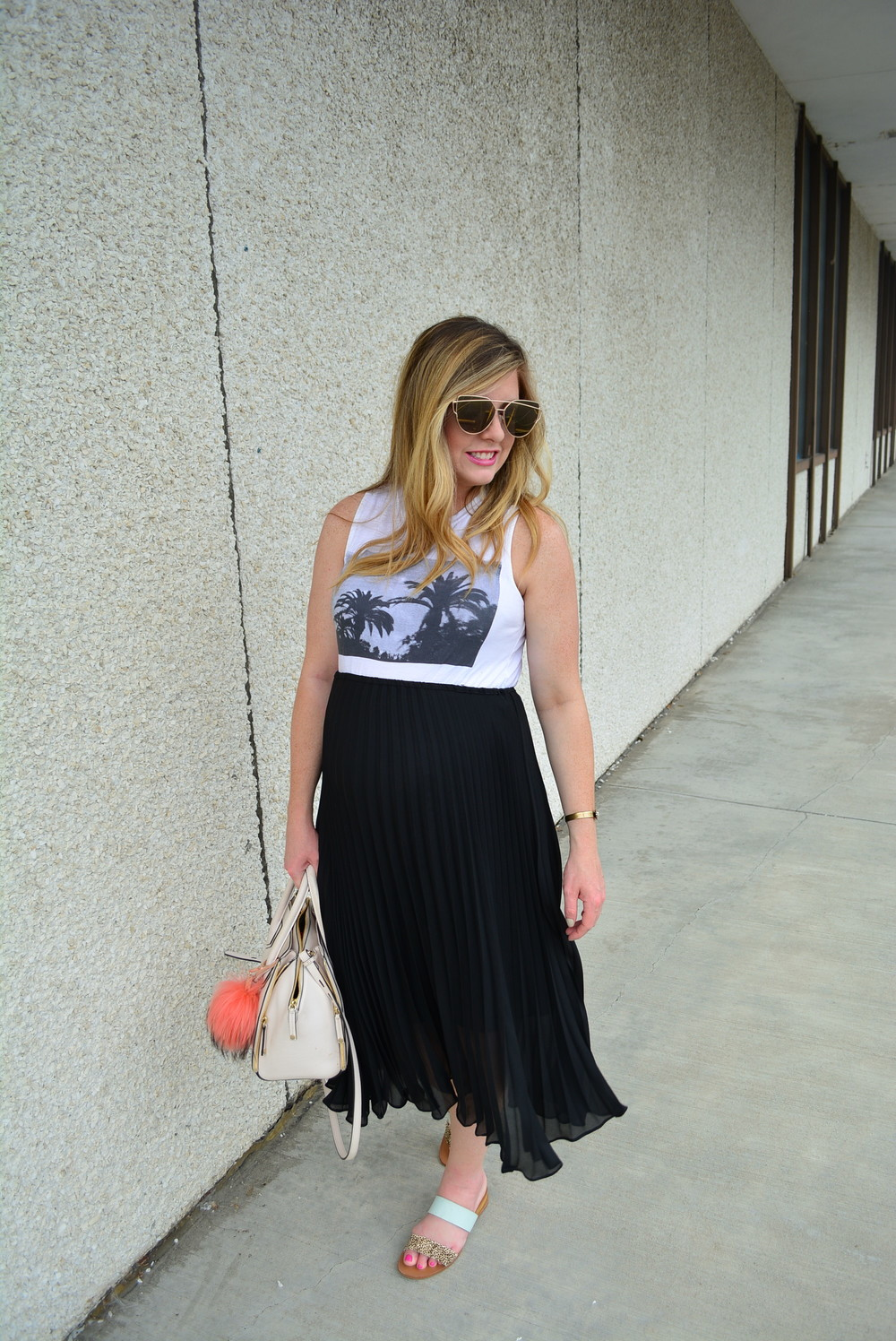 Baldwin tank and black midi skirt for a summer maternity look