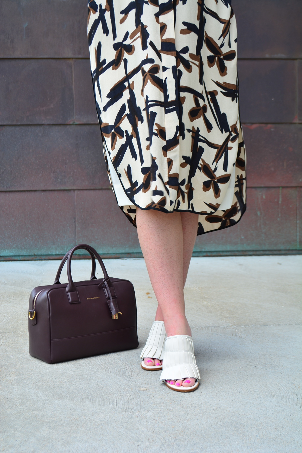 Midi shift printed dress for fall #maternitylook
