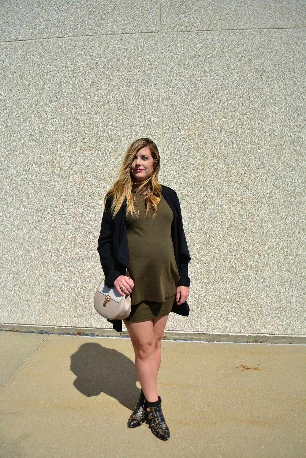 Olive green dress with black long jacket for early fall