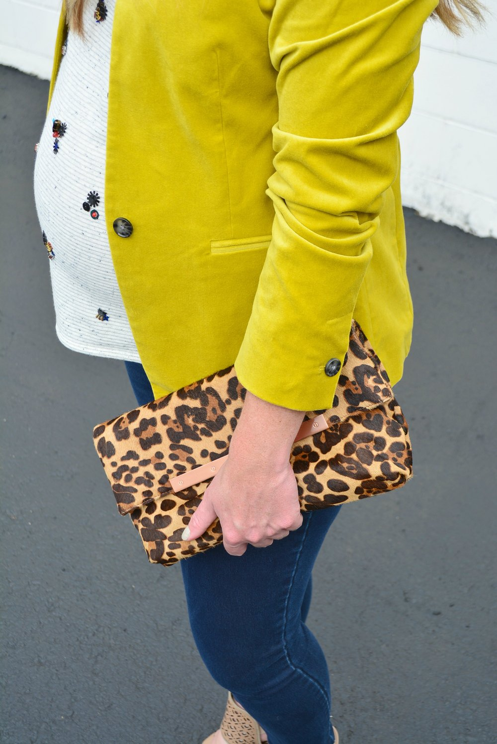 Banana Republic citron velvet jacket and embelished top for a great fall outfit