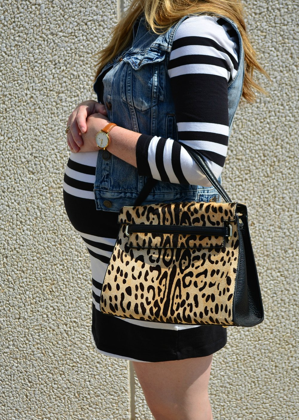 Leopard calf hair structured bag for fall