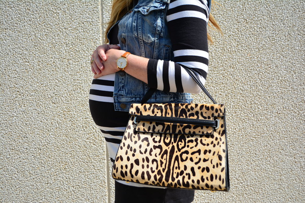Stripe maternity dress with denim vest for transition