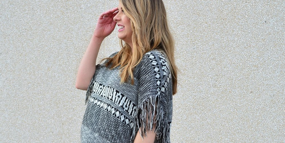 Black and white fringe poncho for fall