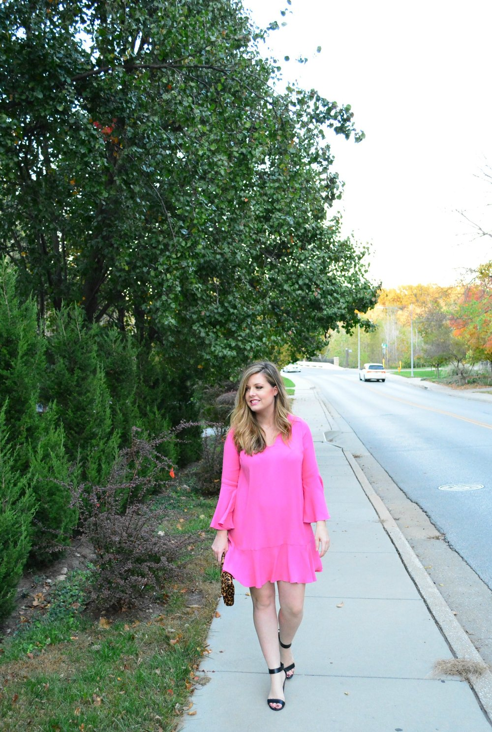 Pink Anthropologie bell-sleeve shift dress