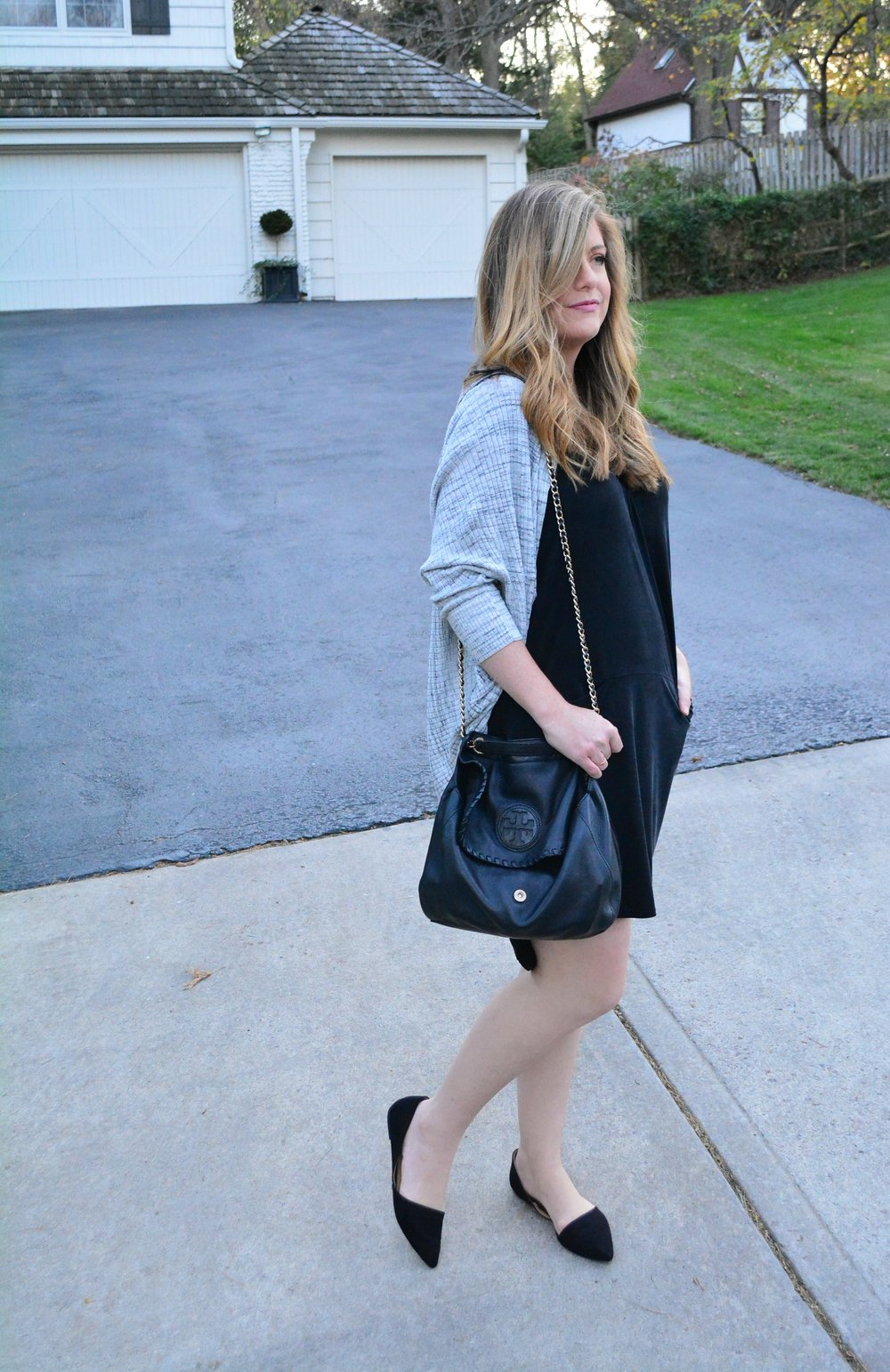 Anthropologie cocoon dress and gray cardigan for fall