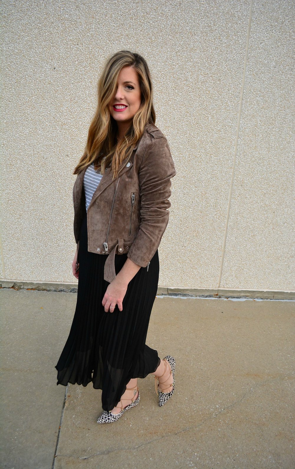 Suede moto jacket stripe vneck and accordion skirt