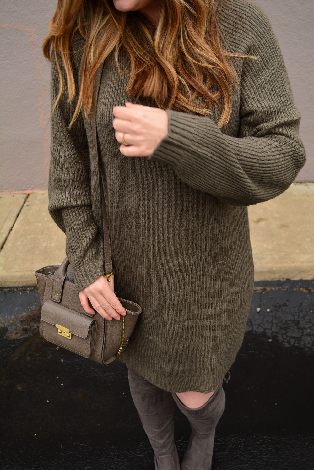 Casual sweater dress outfit