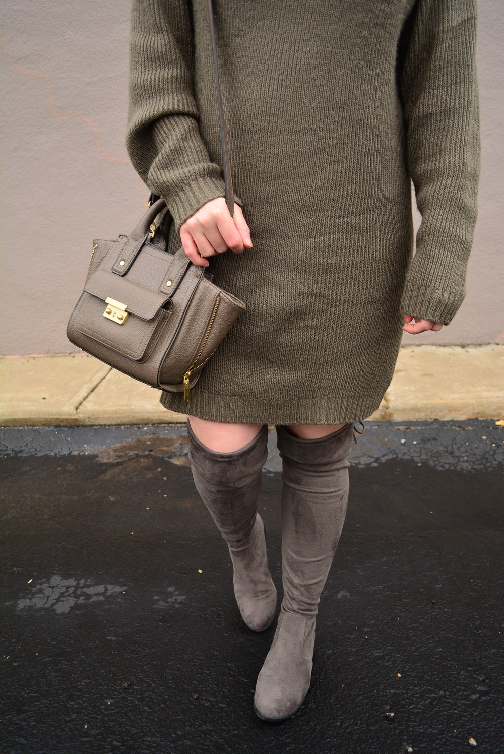 Casual sweater dress outfit with over the knee boots
