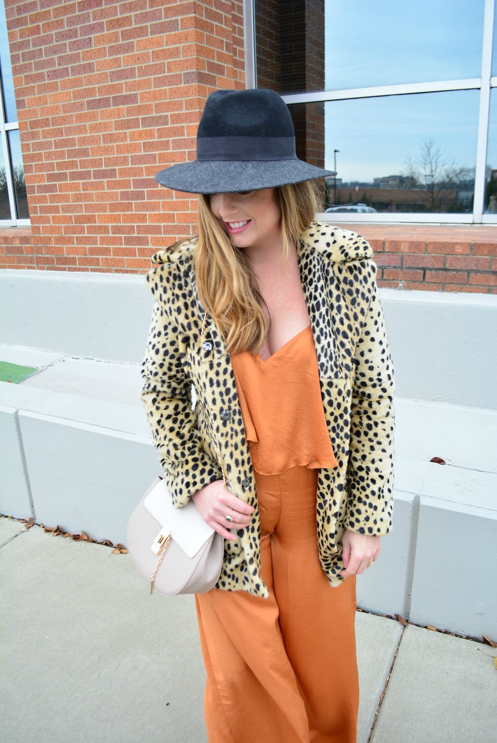 Silk jumpsuit and leopard coat