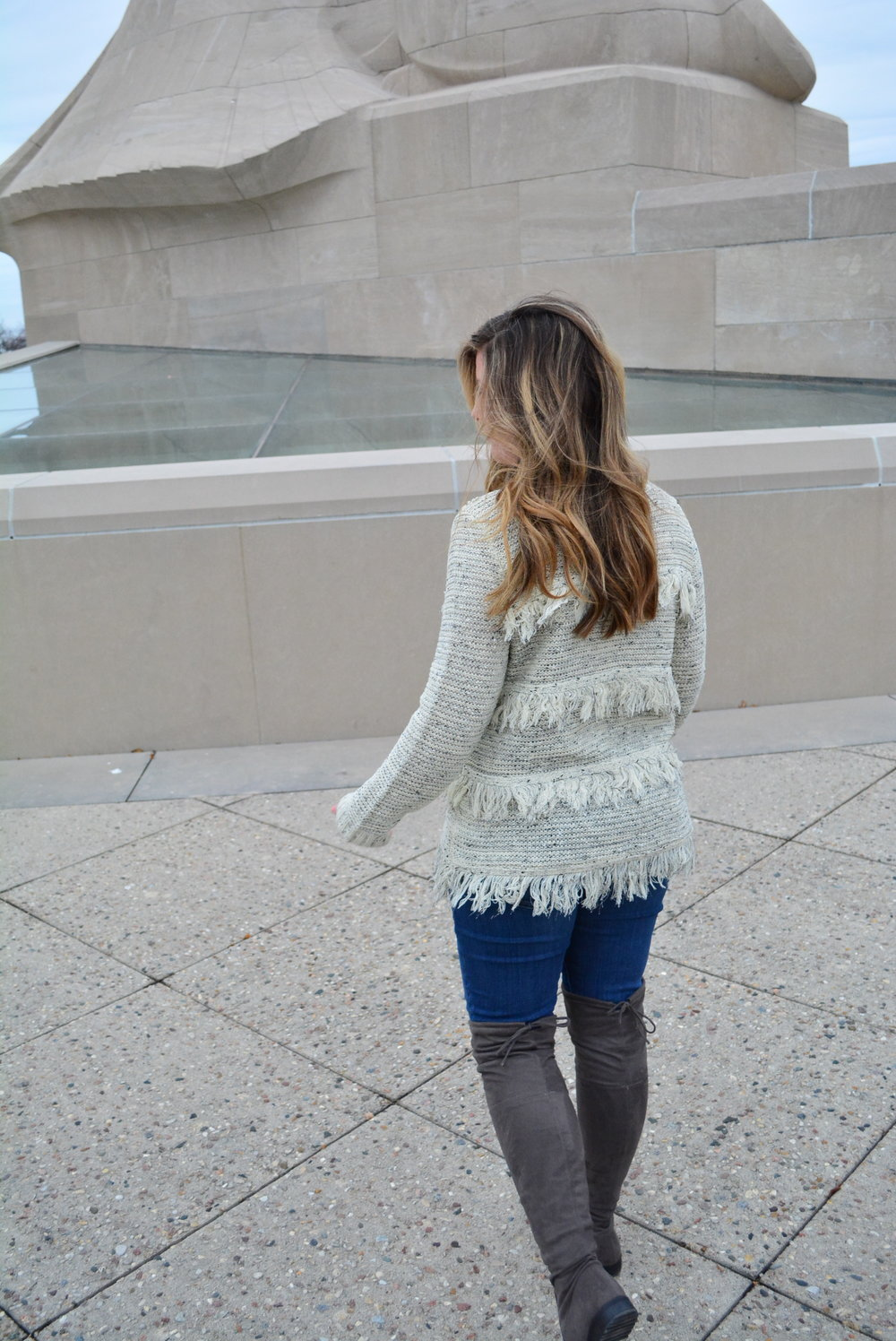 Fringe sweater and OTK boots