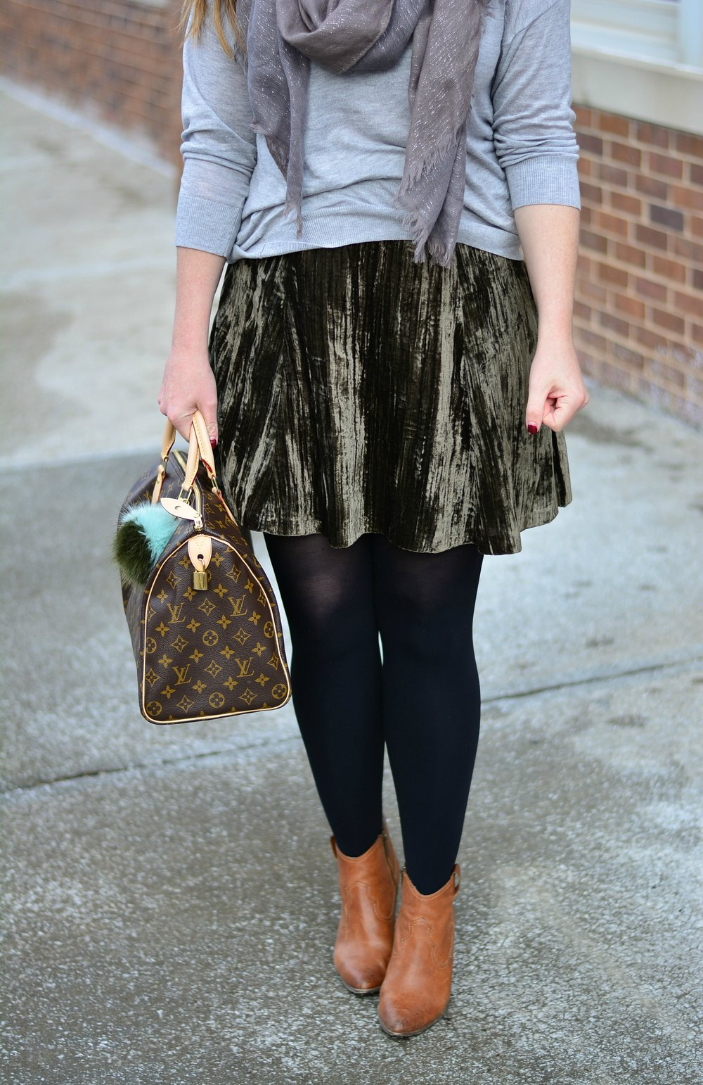 Velvet skirt, winter look